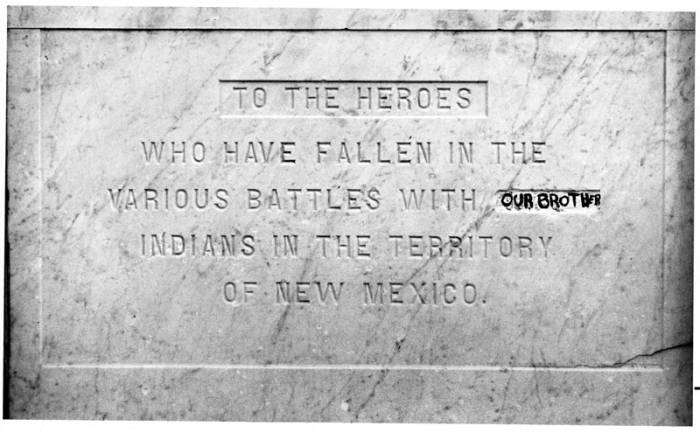 Our Brother In Black Marker Replaces Savage On The Plaza Obelisk In Santa Fe New Mexico Palace Of The Governors Photo Archives Collection Contentdm Title